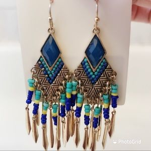Also boho tribal dangling earrings